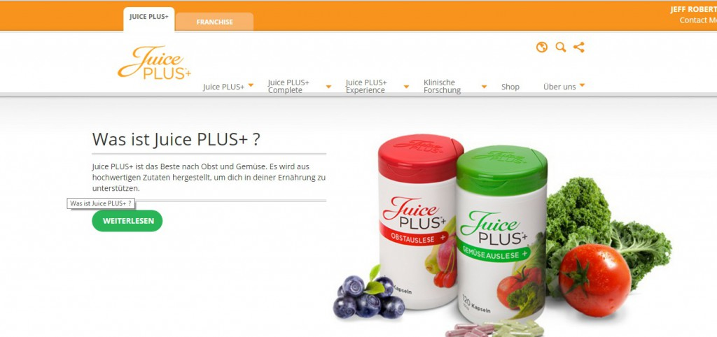 Juice Plus Seite von Jeff Roberti