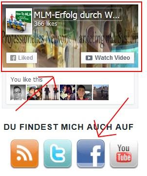 Likebox und Verlinkung zur FB-Fanpage