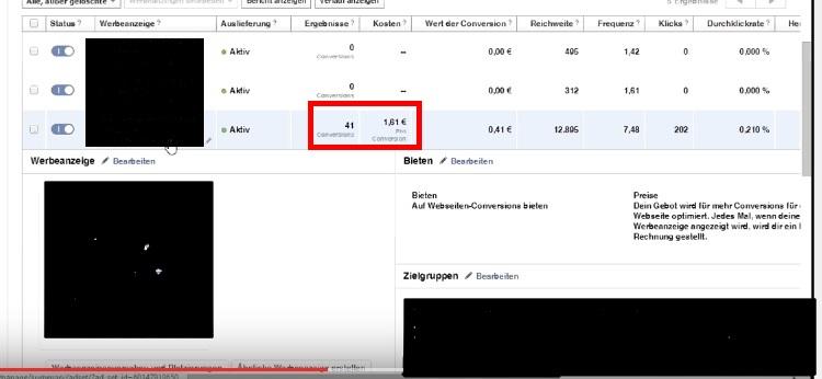 Facebookads 41 Lead für jeweils 1,61 Euro