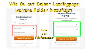 Landingpages Eintragungsfelder erstellen
