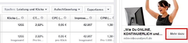 Facebookbutton einer Facebookwerbeanzeige