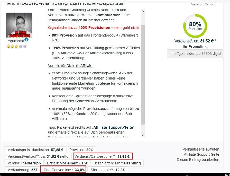 MLM-Inboundprofi Statistik Digistore24