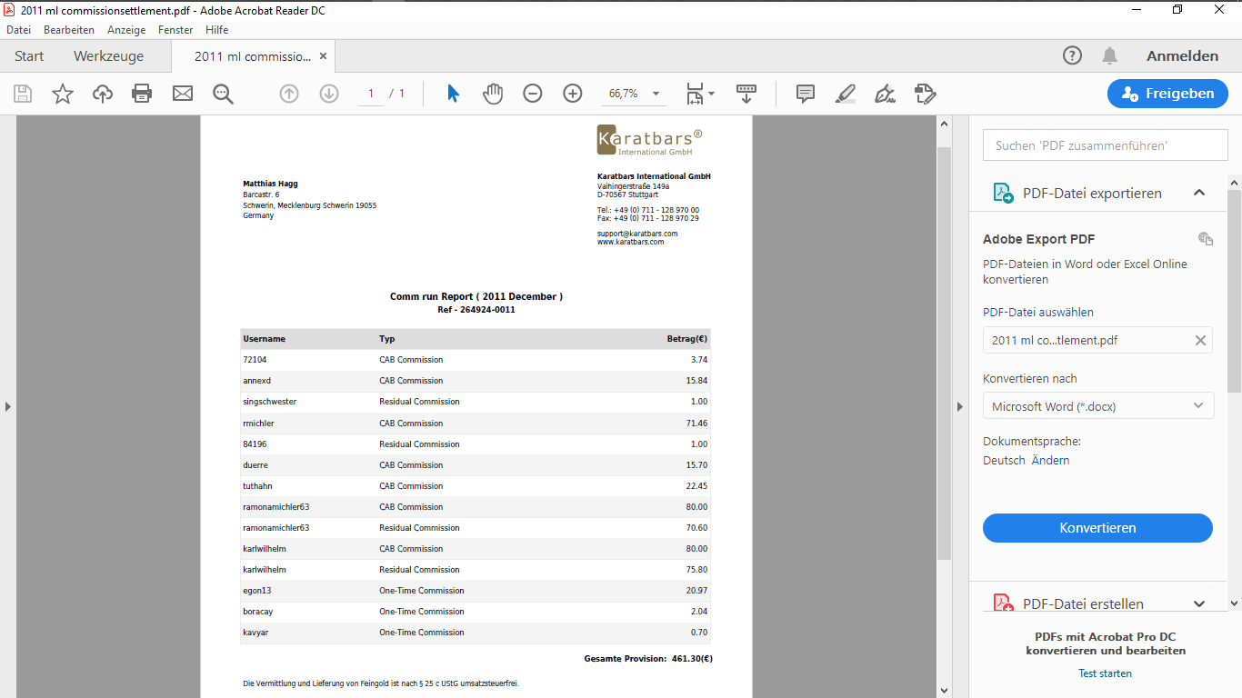Dezember Abrechnung Provision 461,30 Euro
