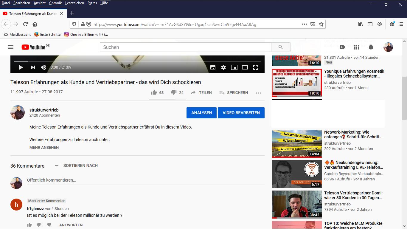 Frage auf Youtube Ist es möglich mit der Teleson Millionär zu werden