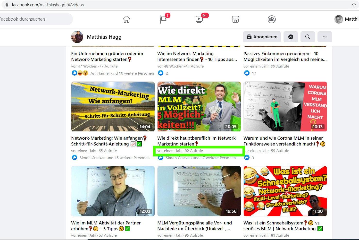 Beispiel Content Recycling Facebookfanpage